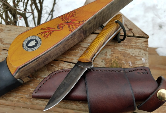 "My St. Joe River Longbow ""Phoenix"" and my brand new Lucas Forge Packer knife."
